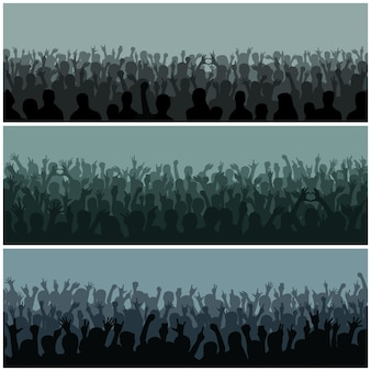 Publikum mit handschattenbild hob das musikfestival und -konzert an, die unten vom oben genannten stadiumsvektor strömen.