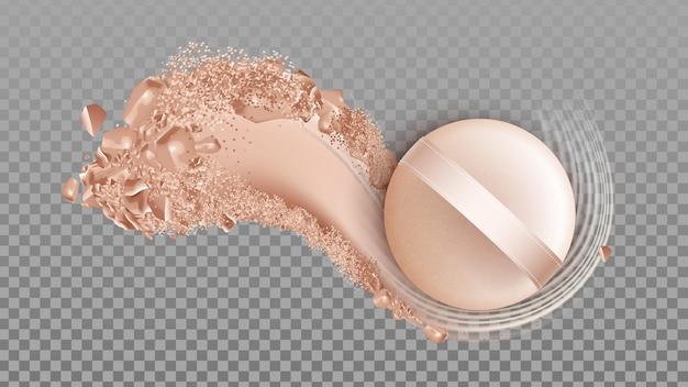 Puder-gesichts-hautpflege-kosmetik und schwamm-vektor. puder-make-up-abstrich und applikator-schönheitszubehör. kosmetikprodukt, lidschatten organische substanz vorlage realistische 3d-darstellung