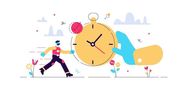 Pünktliche illustration. winzige präzisions-timing-personen. perfekter zeitplan und genaue kontrolle für lebenseffizienz. charakteristische visualisierung mit zeit und uhr.