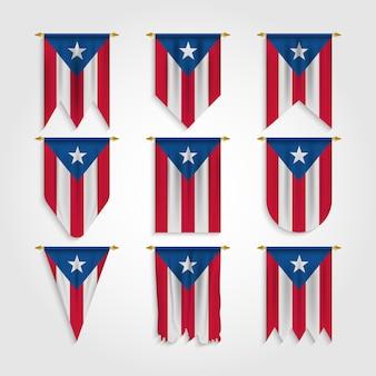 Puerto rico flagge in verschiedenen formen