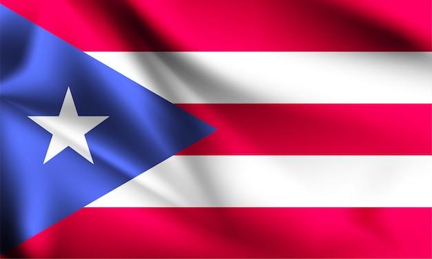 Puerto rico flagge weht im wind. teil einer serie. puerto rico wehende flagge.