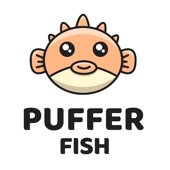 Puffer fish cute logo vorlage