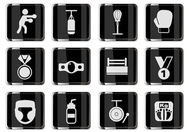Pugilismus-piktogramme in schwarzen chromknöpfen. symbolsatz für ihr design. vektorsymbole