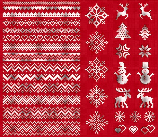 Pulloverelemente stricken. weihnachten nahtlose grenzen.