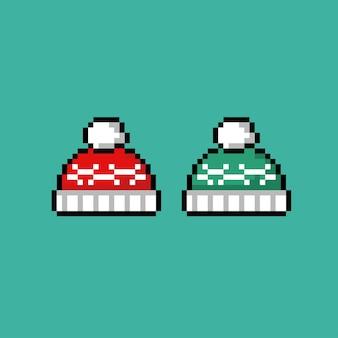 Pullovermütze mit unterschiedlicher farbe im pixel-art-stil