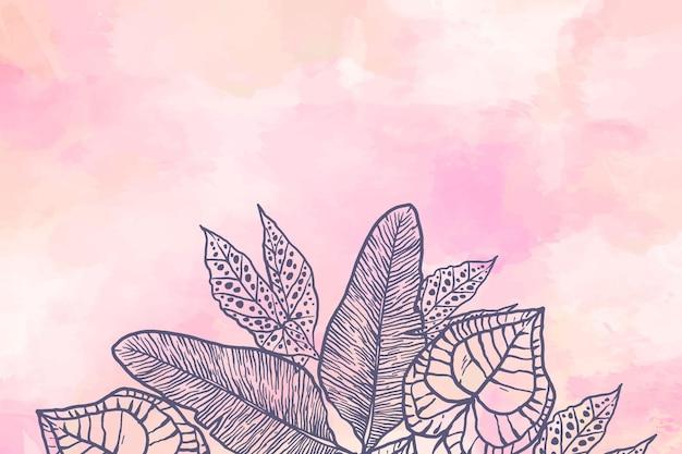 Pulver pastell mit handgezeichneten elementen tapete