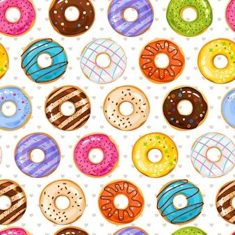 Pulverisierter donut-desserthintergrund. donuts und kleine liebesherzen nahtloses muster. donut bäckerei lecker