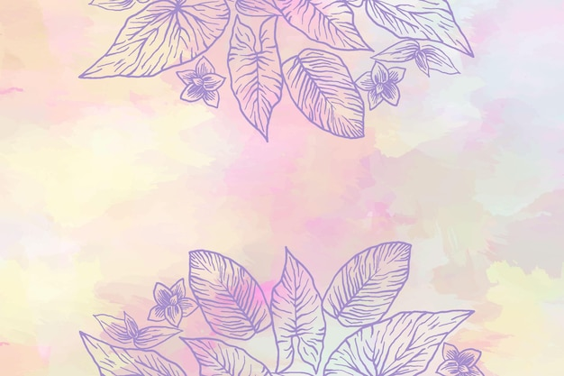 Pulverpastell mit handgezeichnetem elementhintergrund