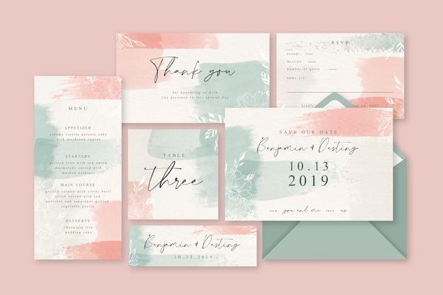 Pulverrosa pastellhochzeitsbriefpapier