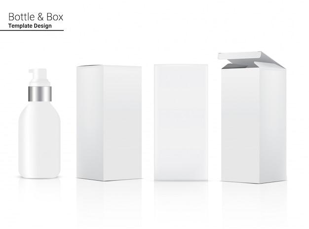 Pump glossy bottle realistische kosmetik und 3-dimensionale box zum aufhellen von hautpflege und altern anti-falten-ware abbildung. gesundheitswesen und medizinische konzeption.