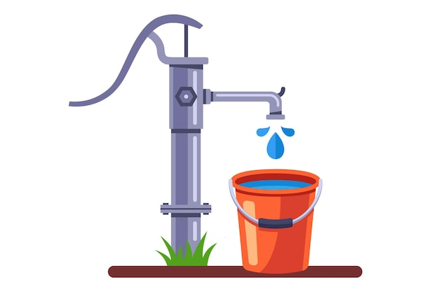 Pumpen sie einen eimer wasser aus dem brunnen. ländliche wassersäule. eben