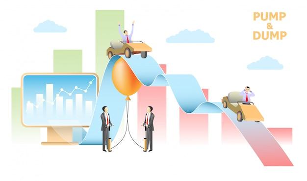 Pumpen- und dumpbörsenentwurfsvektordesign