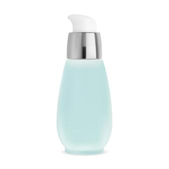 Pumpflasche. airless-kosmetikglas, kamillenwasserdose. verpackungsvorlage für serumlotionsspender. gesichtspflegeessenz minitube, foundation-container-vektorpaket