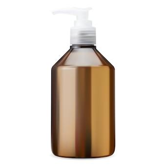 Pumpflasche. brauner kunststoffkosmetikspender leer, realistisch. handlotion paketvorlage. flüssiger gelbehälter mit weißer kappe. klarglas feuchtigkeitscreme mit batcher