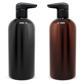 Pumpflasche schwarze und braune kosmetikflaschen