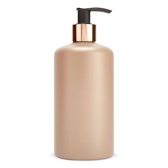 Pumpflasche. shampoo-spender-modell, feuchtigkeitscreme-paket. abbildung des plastikbehälters der körperlotion. realistische haarpflegegelverpackung, goldene oberfläche leer