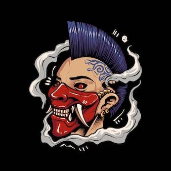 Punkkopf mit japanischer maske