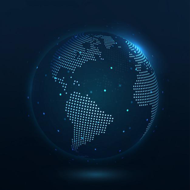 Punkt komponierte weltkarte amerika, die die globale verbindung darstellt