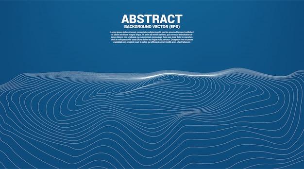Punkt und linie der digitalen konturkurve welligkeit und welle mit drahtgitter. abstrakter hintergrund für futuristisches technologiekonzept