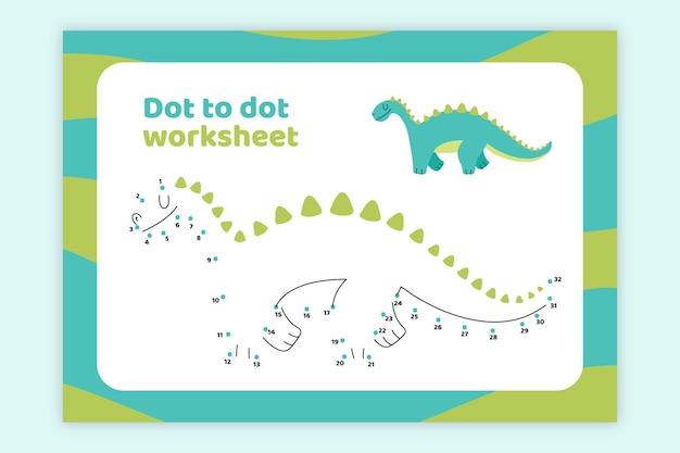 Punkt zu punkt arbeitsblatt mit dinosaurier