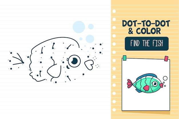 Punkt zu punkt arbeitsblatt mit fisch