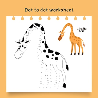 Punkt zu punkt arbeitsblatt mit giraffe