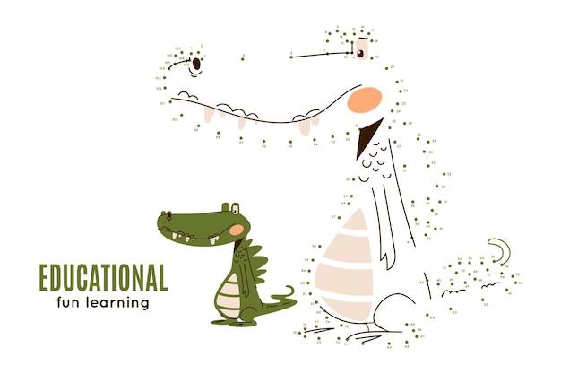 Punkt zu punkt arbeitsblatt mit krokodil