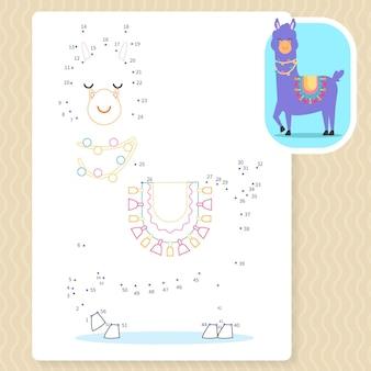 Punkt-zu-punkt-arbeitsblatt mit lama