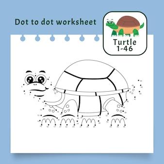 Punkt zu punkt arbeitsblatt mit schildkröte