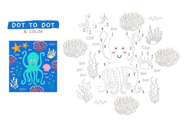 Punkt-zu-punkt-arbeitsblatt mit tintenfisch