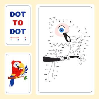 Punkt zu punkt arbeitsblatt mit vogel