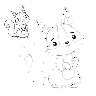 Punkt-zu-punkt-puzzle für kinder. punktespiel verbinden. eichhörnchen illustration