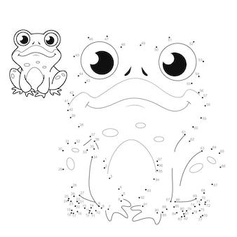 Punkt-zu-punkt-puzzle für kinder. punktespiel verbinden. frosch illustration