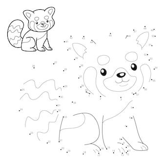 Punkt-zu-punkt-puzzle für kinder. punktespiel verbinden. rote panda-illustration