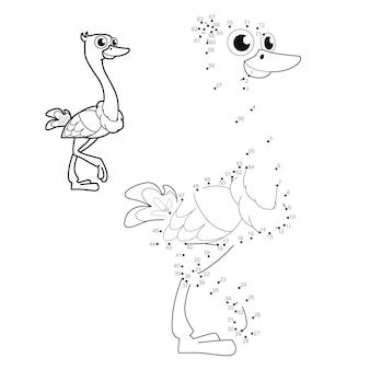 Punkt-zu-punkt-puzzle für kinder. punktespiel verbinden. straußenillustration