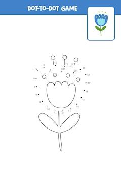 Punkt zu punkt spiel mit cartoon niedliche glockenblume blume verbinde die punkte mathe spiel punkt und farbbild