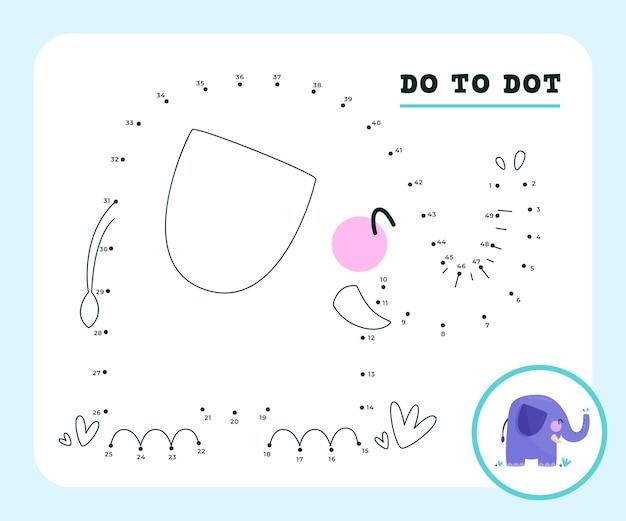 Punkt-zu-punkt-spielarbeitsblatt mit elefantentier