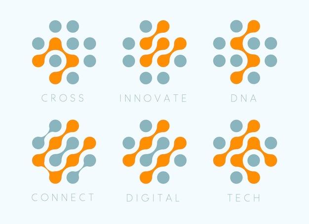 Punkte überqueren vektor-emblem-set innovative bio-tech-moderne symbole digitales wissenschaftslabor isoliertes logo