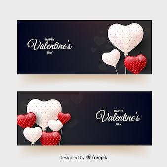 Punktierte ballons valentinstag banner