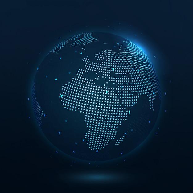 Punktkomposierte weltkarte europa, die die globale verbindung darstellt