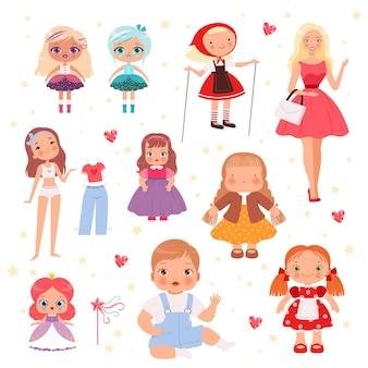 Puppen spielzeug. nettes spielmodell für kinder fröhlicher spielzeugvektorsatz. illustrationspuppe für kinder, cartoon-spielzeug für kinder