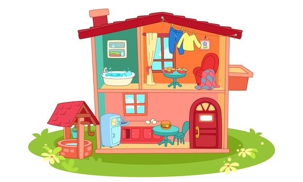 Puppenhaus-karikaturillustration
