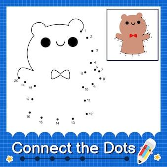 Puppet kids verbinden das punktarbeitsblatt für kinder mit den nummern 1 bis 20