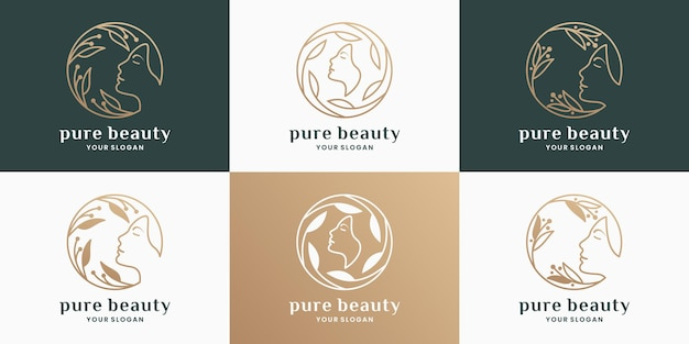 Pure beauty-logo-design für salon, kosmetik, spa, produktetikett