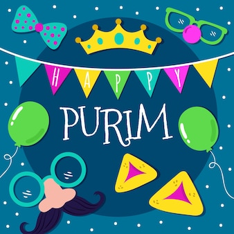 Purim day schriftzug mit illustrierten elementen