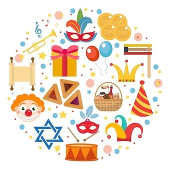 Purim-symbole in runder form, lokalisiert auf weißem hintergrund. illustration clip-art.