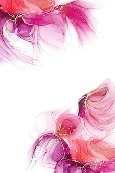 Purpurrosa und roter flüssiger aquarellhintergrund mit goldenem glitzer