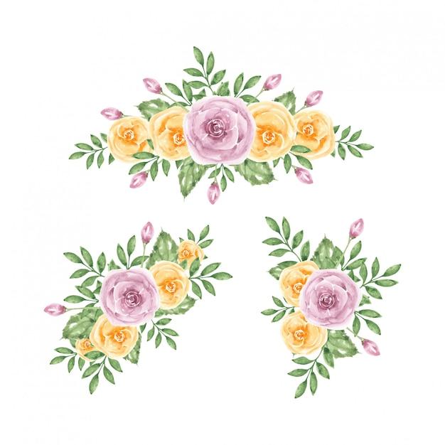Purpurrote gelbe rosenblumenstrauß-aquarellschablone