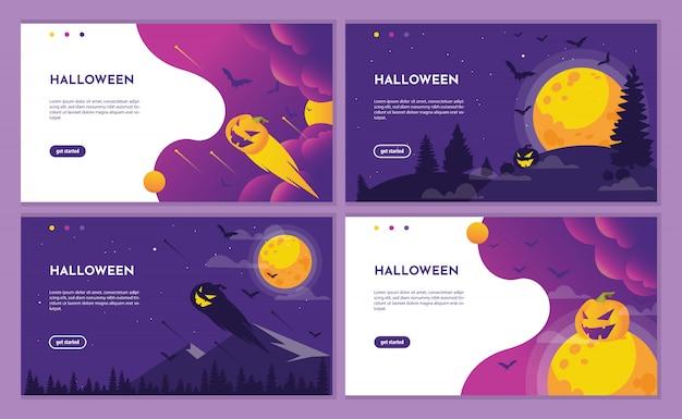 Purpurrote halloween-landungsseite mit kürbis und mond.