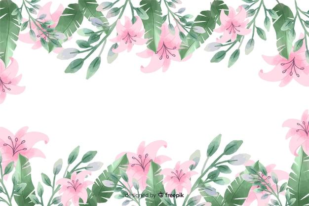 Purpurrote lilie blüht rahmenhintergrund mit aquarelldesign